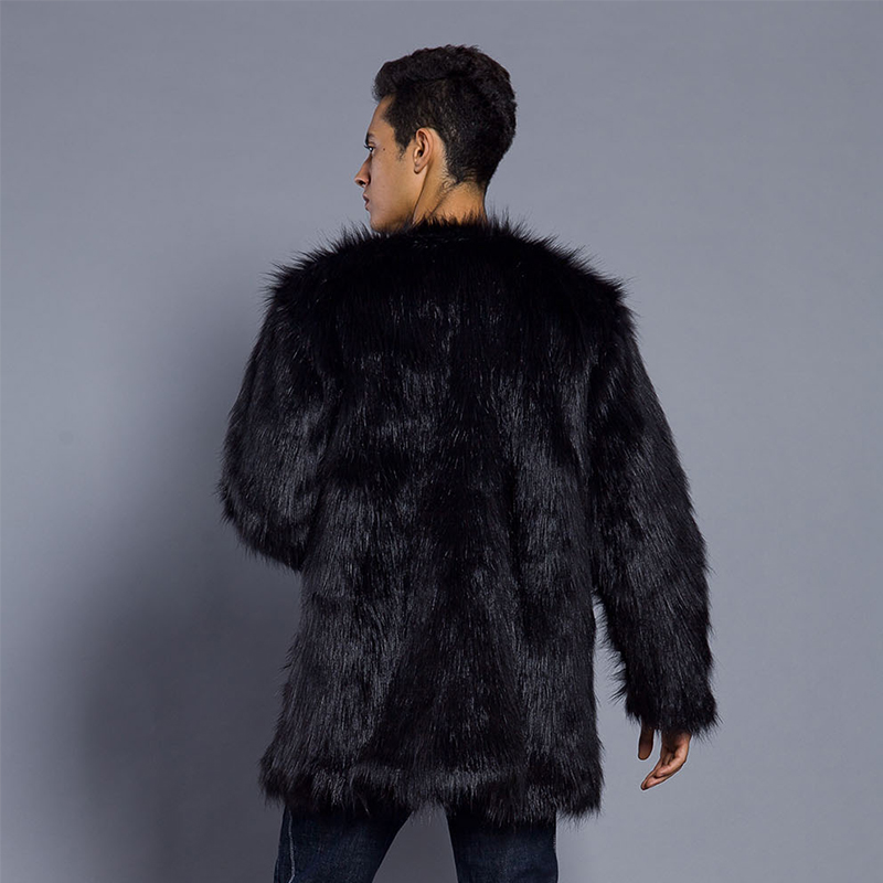 Parkas Caliente Invierno Peludo Negro Oversize De Chaqueta 6q1217 blanco cuello Espesar Abrigo Piel Hombre V Cuello Sin HwCxqn7I