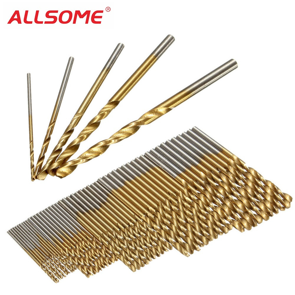 ALLSOME 50PCS 1/1.5/2/2.5/3mm HSS Titanium Coated Twist Drill Bits High Speed Steel Drill Bit Set HT2392+