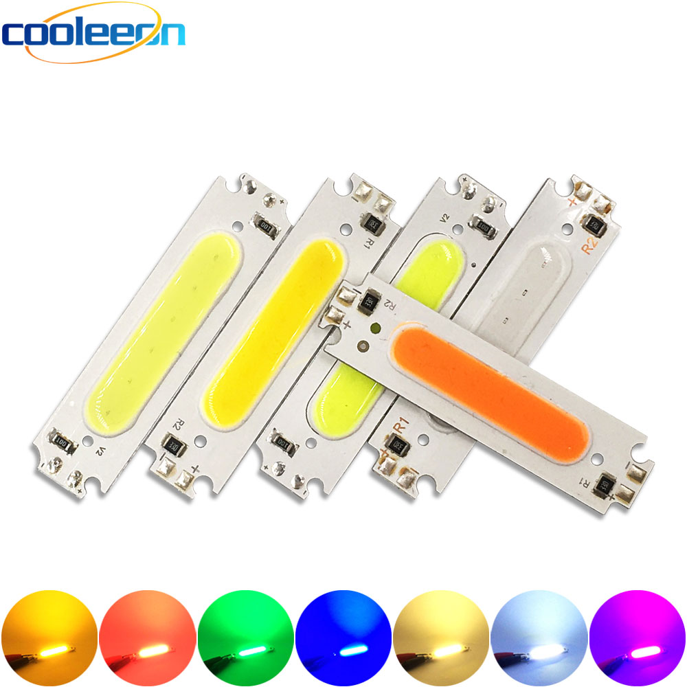 60x15MM 2W COB Chip LED Light Lamp 12V White Yellow Blue Red Green Pink Purple Color LED Bulb DIY Lighting 60mm COB Board