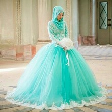 fashion mint green hijab long wedding dresses 2017 o neck appliques lace long sleeves tulle women bridal marry gown for party