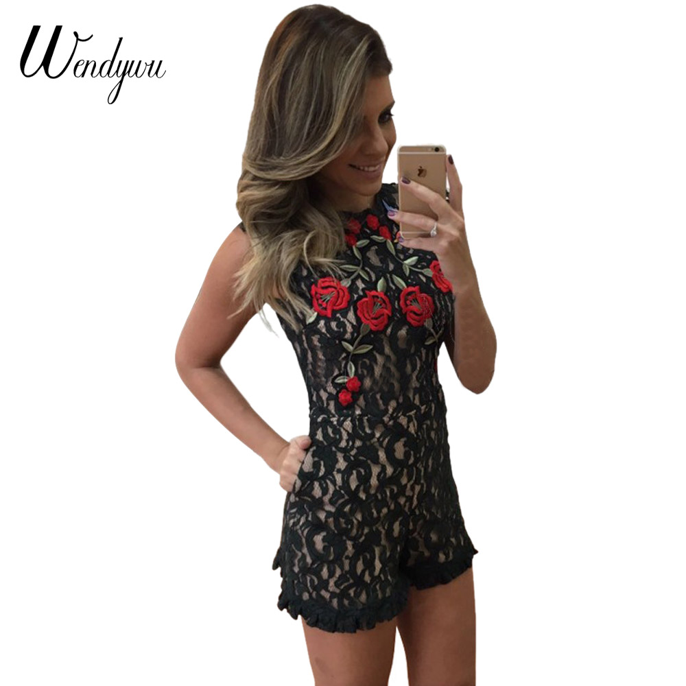 Wendywu New Hot Sale Red Floral Embroidery Black Open Back Summer Playsuit for Women