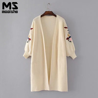 Mooishe 2017 Autumn Floral Embroided Women Long Cardigan Long Sleeve Casual Loose Tops Female Fashion Wear