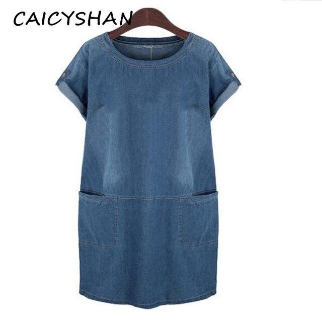 Новинка 2015 брендовая модная летняя женская одежда Большие размеры с коротким рукавом Джинсовое платье Большие размеры для женщин цельный деним Бесплатная доставка