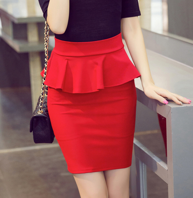 skirts womens Pencil Skirt High Waist Bodycon Office Ladies Ruffle Skirt  Plus Size skirts faldas mujer 4XL 5XL 8041a35e32e0