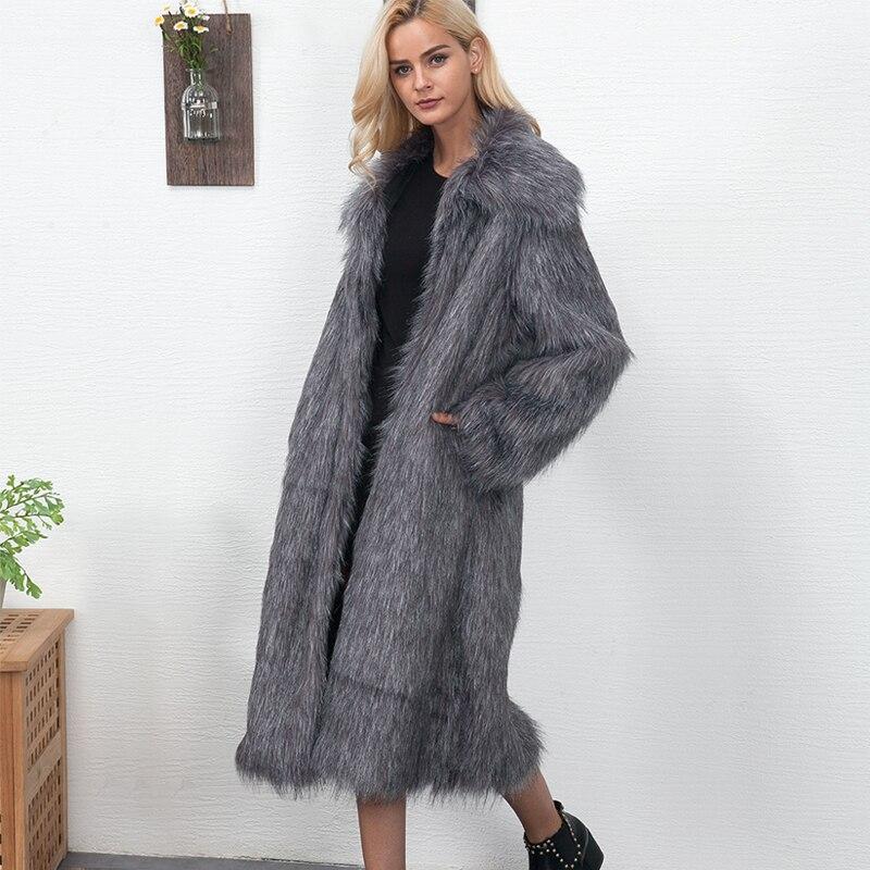 6b0da3d57354e Winter Womens Plus Size Faux Fur Coat Long Slim Thicken Warm Hairy Jacket  Trendy Warm Outerwear Fur Coat Trenchcoat 6Q0366-in Faux Fur from Women s  Clothing ...