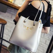 2017 New Fashion Silver Bags Famous Brand Cute Cat Design Women Messenger Bag Shoulder Crossbody Bag for Women Bucket Bags Sacs
