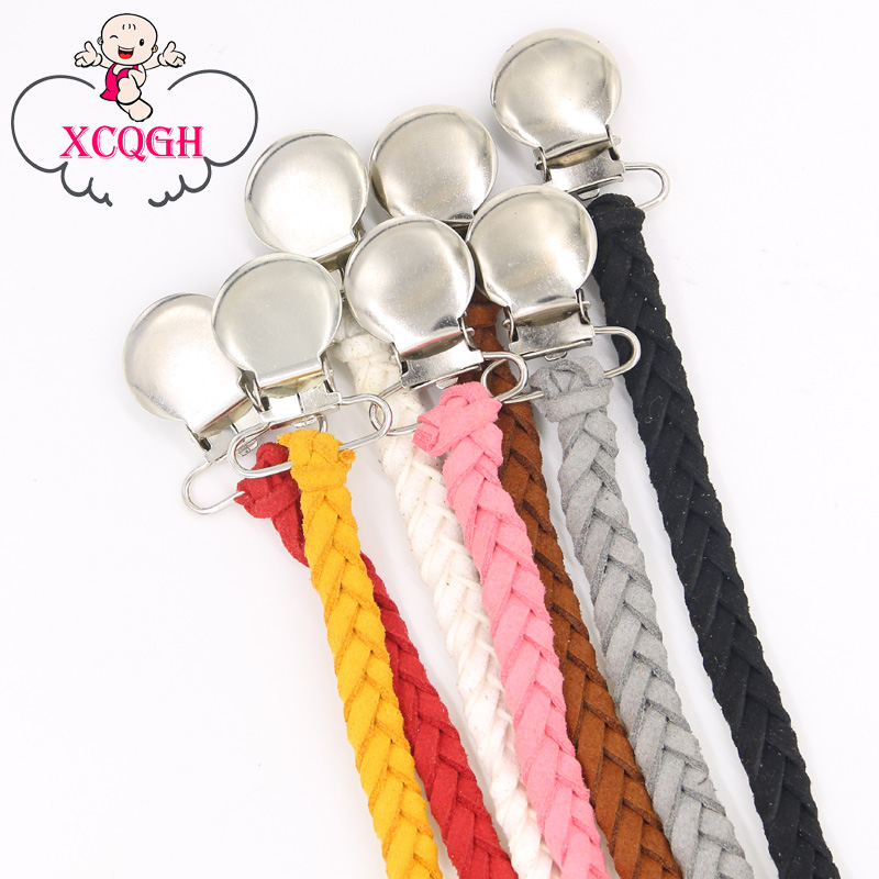 купить Leather Pacifier Clips Chain Dummy Clip Pacifier Holder Braided Binky Clip Nipple Holder Soother Chain For Infant Baby Feeding по цене 165.91 рублей