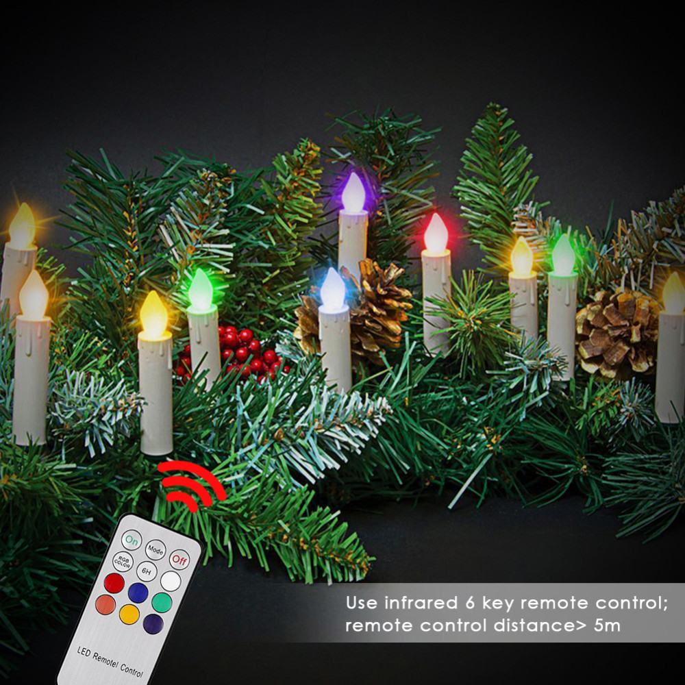 10 pcs LED Candle Remote Control Lights Christmas Tree ...