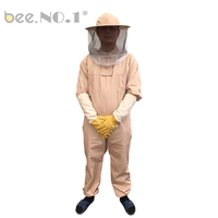 BEE NO.1 Top Quality 100% Cotton 1Pcs Beekeeping Suit And 1 Pair of gloves With Fireproofing Veil L/XL/XXL/XXXL Size Bee Suit