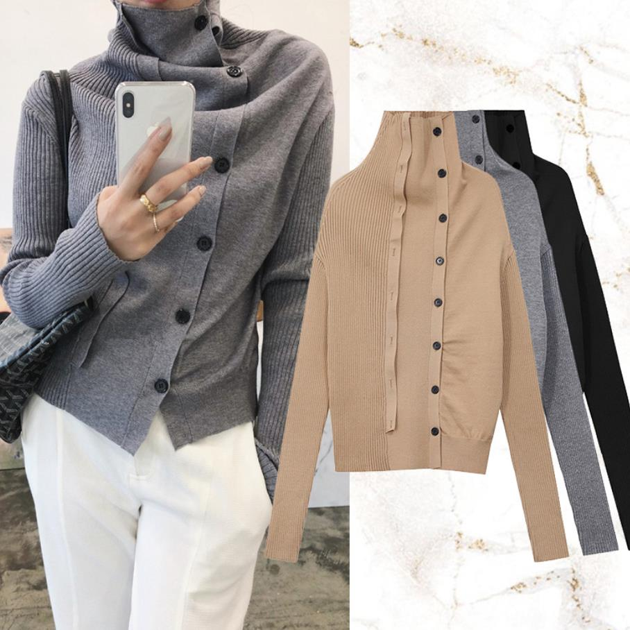 Turtleneck Sweater female Single Breasted good quality wool Cardigans Knitting Coat long sleeve loose tops women clothes gx1345