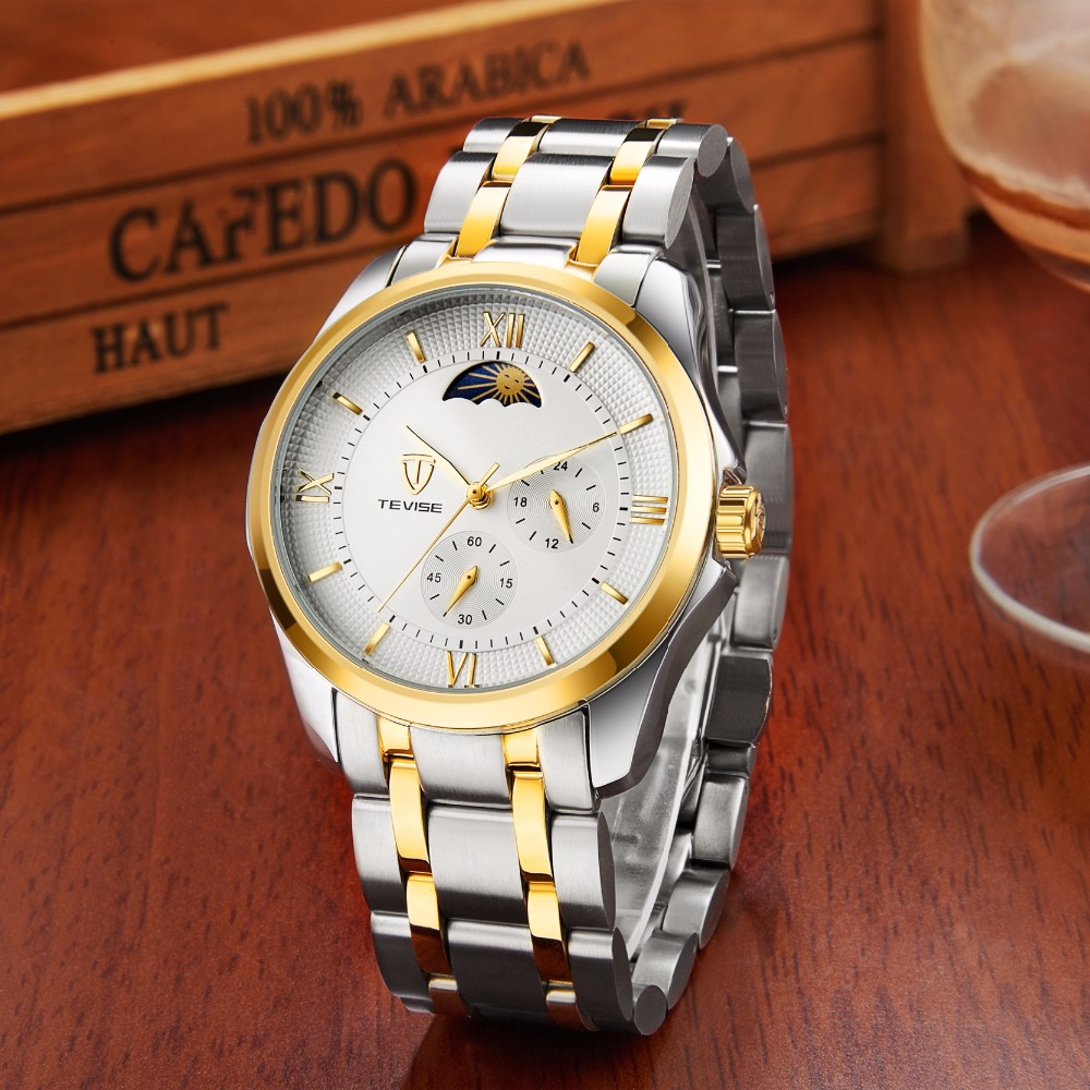 Tevise Fashion Automatic Watch Men Mechanical Watches Man Self Winding Stainless Steel Band Moon Phase 24 Hour Clock N9036G tevise men automatic self wind gola stainless steel watches luxury 12 symbolic animals dial mechanical date wristwatches9055g