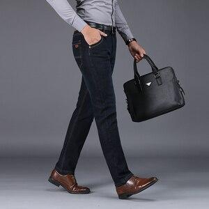 Image 3 - NIGRITY zimowe ciepłe ciepłe męskie polarowe proste dżinsy na co dzień Stretch grube Denim flanelowe miękkie spodnie spodnie klasyczne plus Size