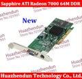 2 pçs/lote Frete grátis Nova Marca Sapphire ATI Radeon 7000 64 M DDR VGA/TVO AGP placa de Vídeo
