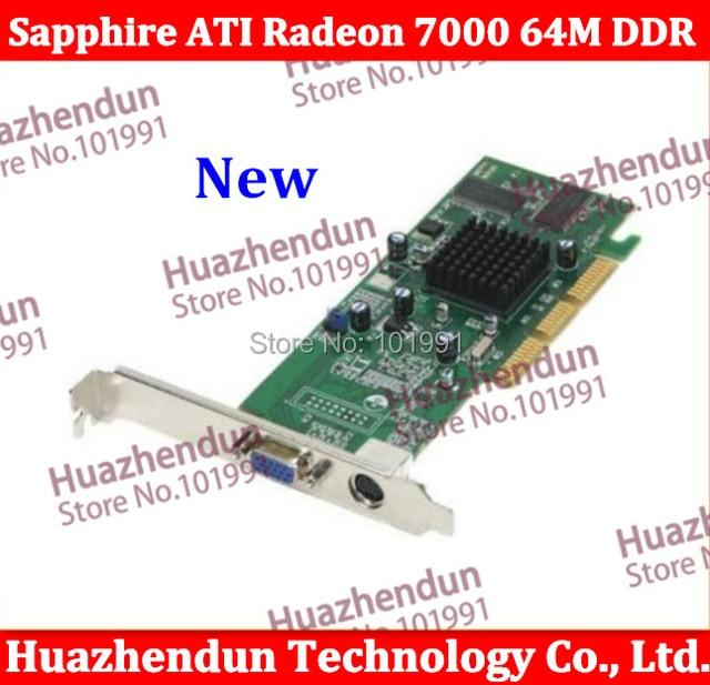 2pcs/lot Free shipping Brand New Sapphire ATI Radeon 7000 64M DDR VGA/TVO AGP Video card