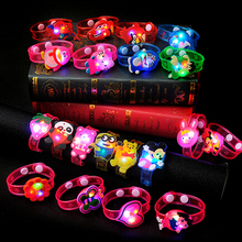 LED Glow Light up Rubber Toy Watch Kid Fluorescent Hand Ring Handband Halloween Flashing Party Flash