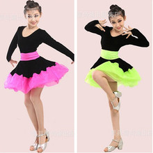 Fashion winter long sleeve rumba latin dance dress tango samba 110-170cm pink green professional girl child dress black costume