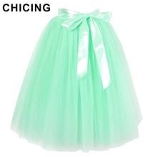 CHICING 6 Layered Tulle Skirts Womens 2016 Summer High Waist Swing Dolly Ball Gown Mesh Tutu Midi Skirt Faldas Saias A1603026