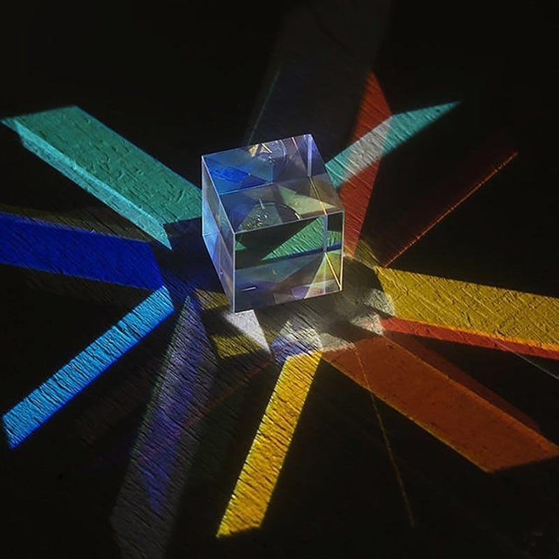 Optical Glass X-CUBE Dispersion Prism Cube Physics Teaching Education Toys Surprise Gift For Children Adult 2CM*2CM*2CM