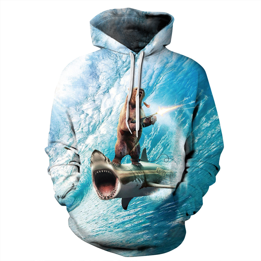 Cartoon Funny Animal Hooded Shark Bear Printed Tracksuit Mens Sweatshirt New Arrival Clean Sky Pullover Hoodies Hip Hop Hoodie
