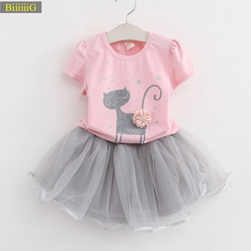 2018 Brands Princess Suit Dress Cute Cartoon Cat Applique White Pink T-shirt Net Yarn Skirt Baby Girl Clothes Two Piece Set 2-6y