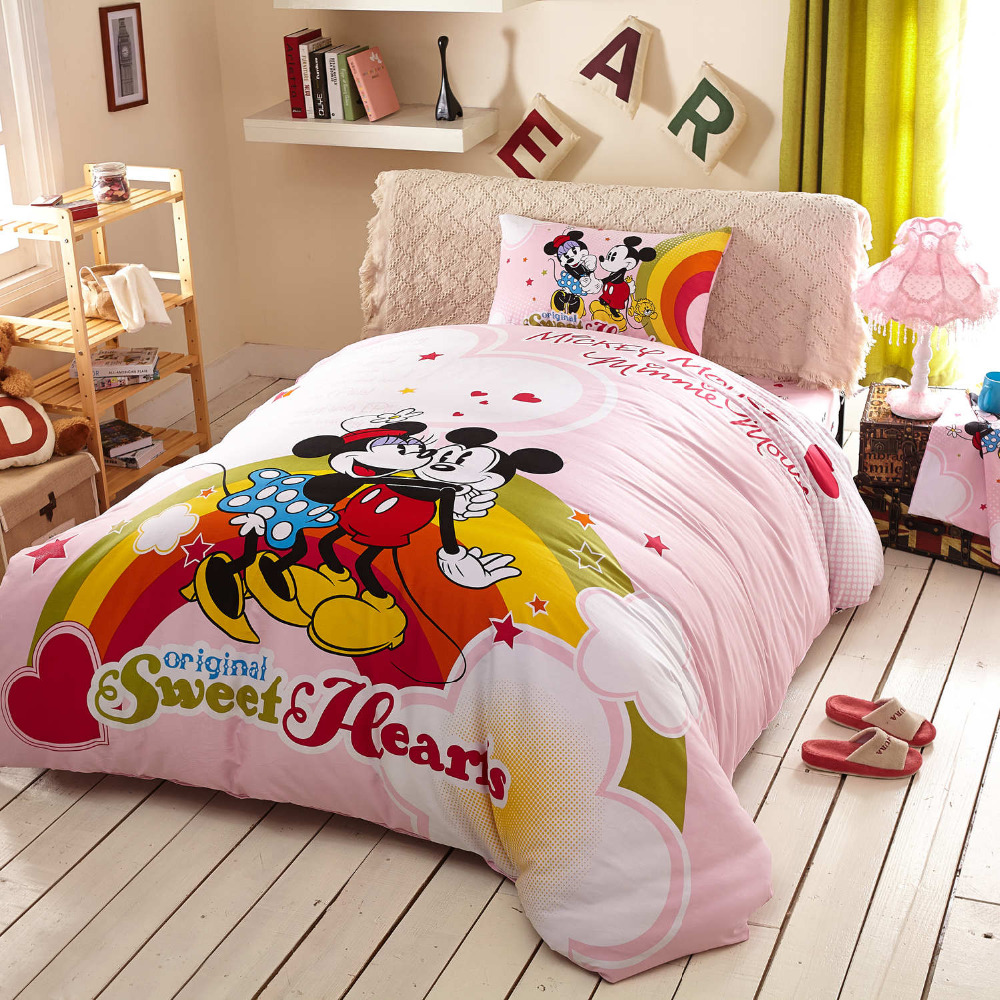 happy minnie mickey mouse cartoon printed bedding sets kids twin queen king cotton rainbow comforter duvet