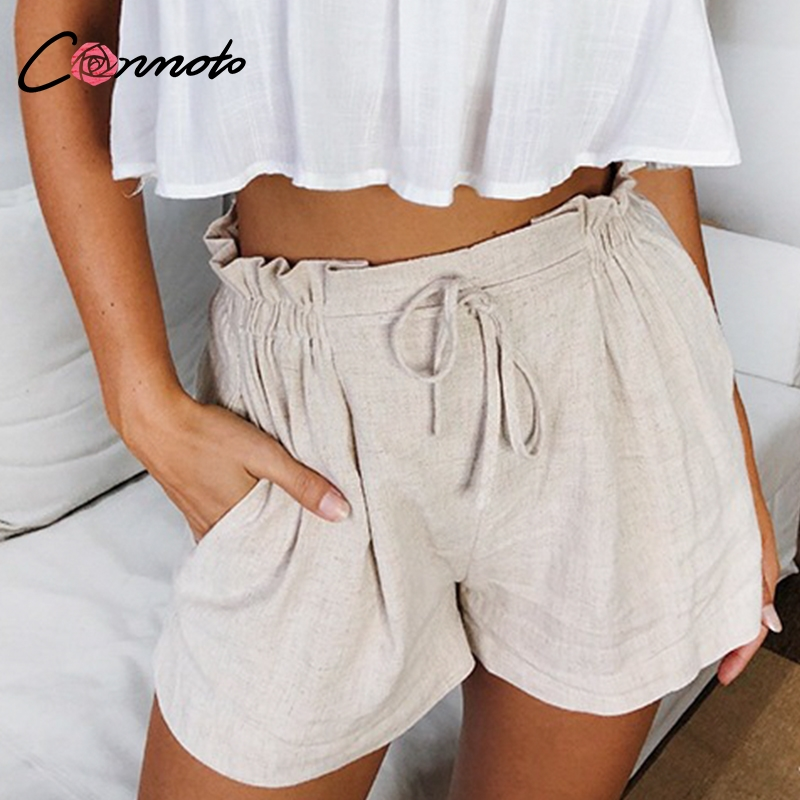 Image 2 - Conmoto Casual Beige Holiday Beach Lace up Thin Shorts Women 2019 Summer High Street Stylish Elastic Waist Girl Shorts Plus Size-in Shorts from Women's Clothing