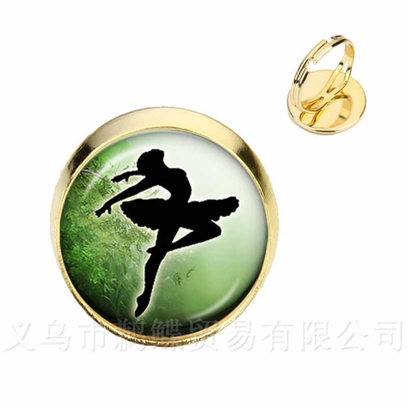 Argento/Golder Placcato Anelli 16 millimetri di Vetro Cabochon Elegante Balletto di Danza Anelli Per Le Donne di Balletto Ballerino Regalo