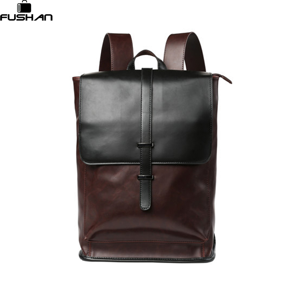 Fashion Crazy horse Leather Men Backpack High quality Men's travel bags Preppy Style Men school bag Casual Rucksack bags mochila high quality fashion rock band backpack for teenage women men casual daypack college student preppy school backpack travel bags