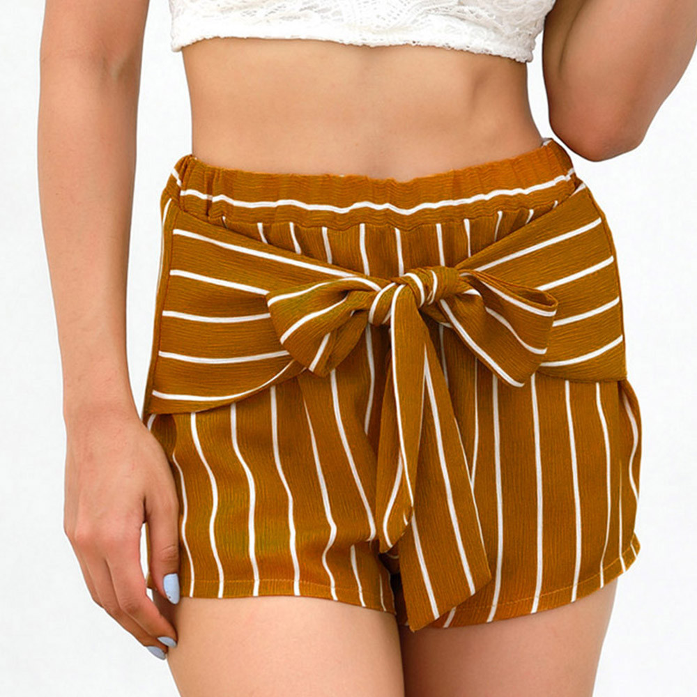 Womail Women pants   Shorts   Summer Striped Bow Trousers Ladies Loose Pants Casual   Short   Pant Daily denim color dropship j23