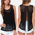 Summer Style Woman Blusas 2016 Women Chiffon Blouse Lace Sleeveless O-neck Shirts Hollow out Solid Plus Size Yeux8