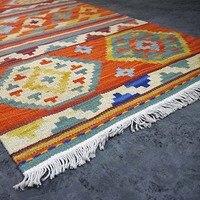 אסי הביתה 100% צמר כתום ארוג יד שטיח קילים אנטוליה תורכי תבנית אתנית שטיח מחצלת שפשפת שטיח מסדרון