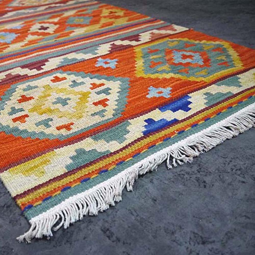 Essie Home 100 Wool Hand Woven Orange Kilim Carpet