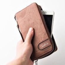 New Brand Men Wallets Business Denim Men Purse Coin Card Holder High Capacity Clutch Wallet Male Wrist Strap Phone Pocket W149