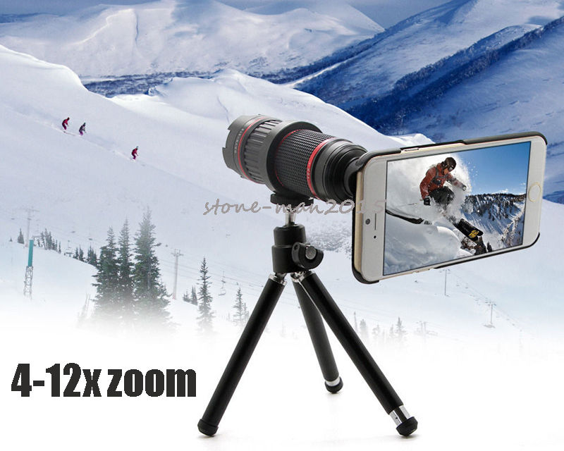 Professional DSLR 4-12X Zoom Telescope Photo Manual Focus Camera Lens Tripod For Samsung Galaxy/For Iphone 12x optical zoom telescope camera lens w back case for samsung galaxy note 2 n7100 silver black