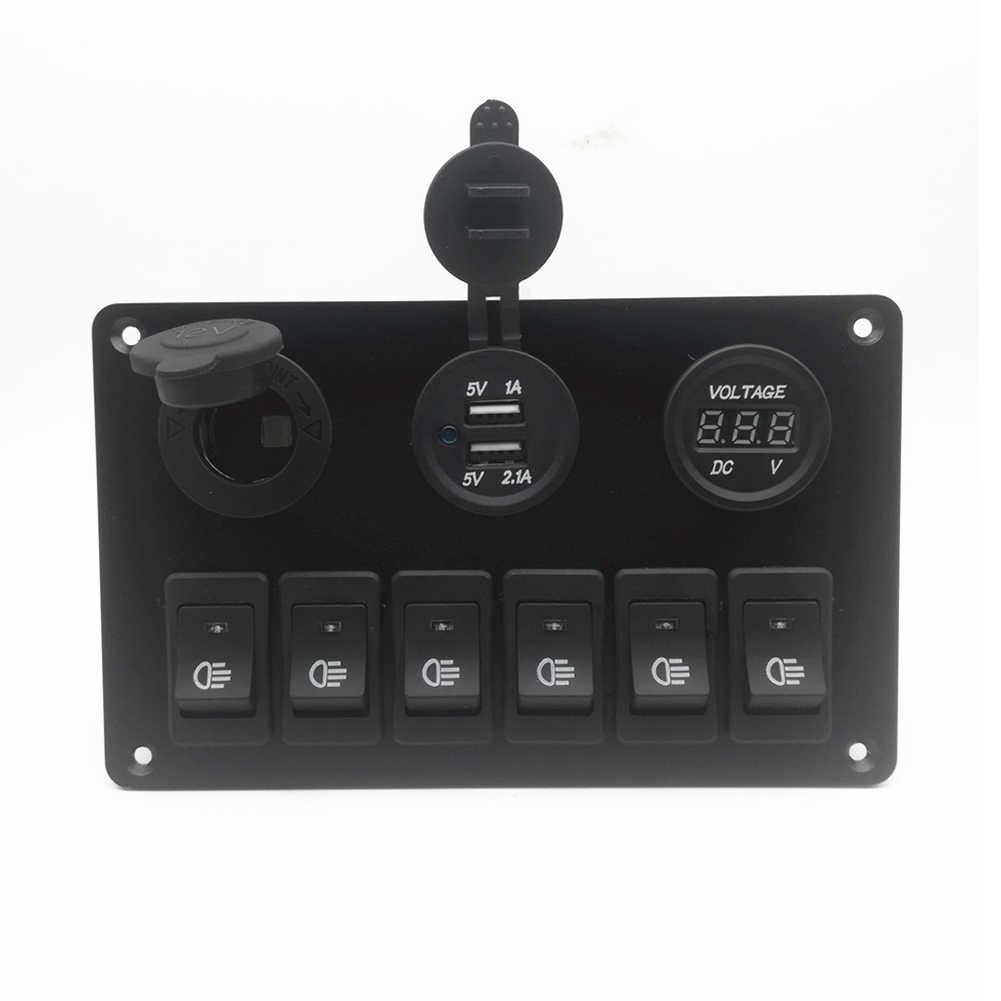 6 Way Switch Panel Fog Light Headlight Control Durable with USB Charger for Car YAN88