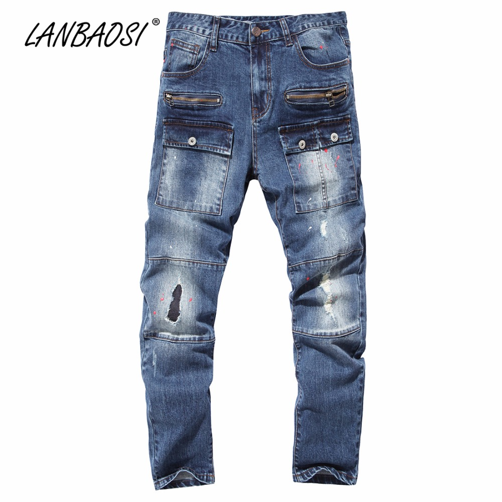 LANBAOSI JEANS Mens Jeans Pants Casual Boys Denim Pant Trousers Cotton Hole Torn Ripped Straight Cowboy Fashion Trousers