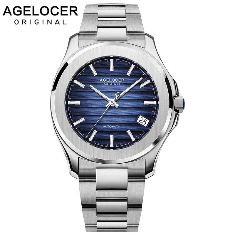 Réserve de marche lumineuse suisse montres AGELOCER Original hommes montre automatique auto-vent mode hommes montre-bracelet mécanique