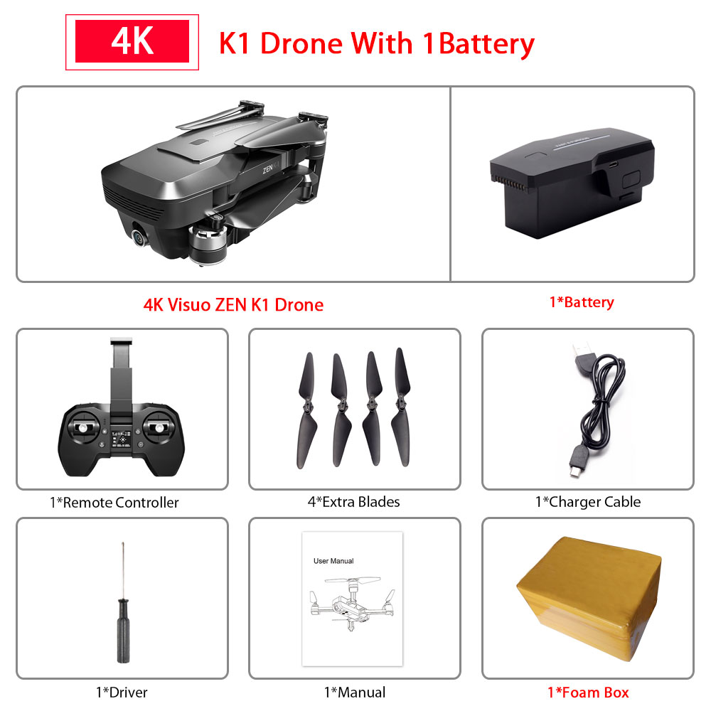 Visuo ZEN K1 GPS RC Drone with 4K HD Dual Camera Gesture Control 5G Wifi FPV Brushless Motor Flight 28mins Dron VS F11 B4W SG906