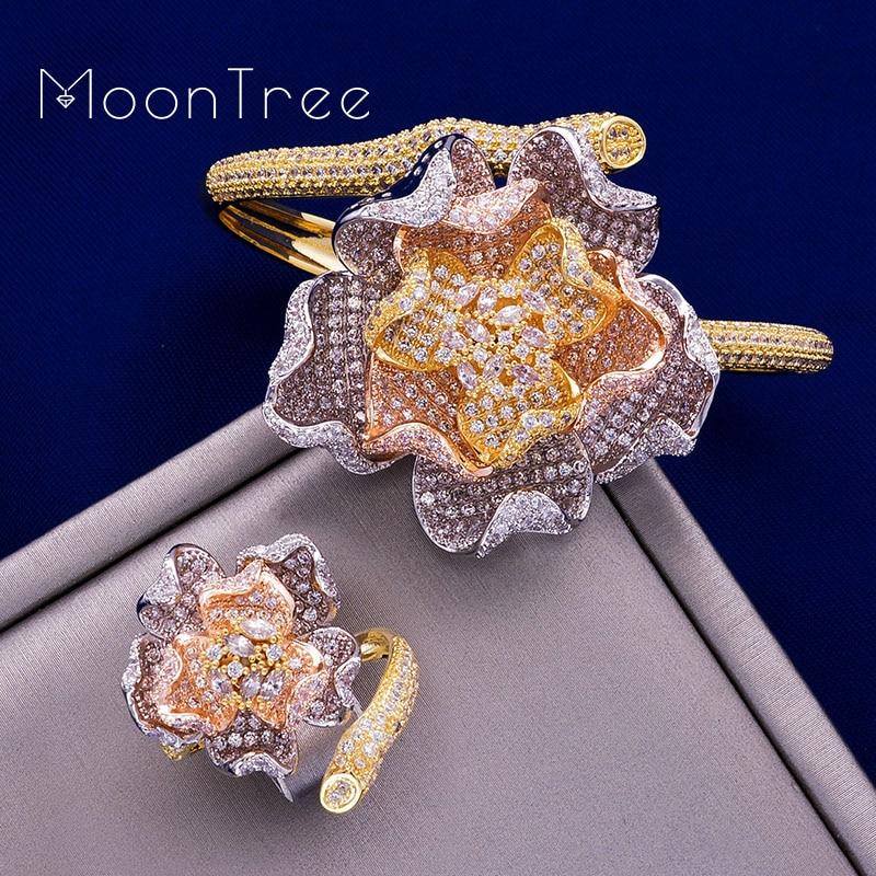 MoonTree mode luxe fleur luxe strass mariage bijoux ensembles trois couleurs couche cuivre tresse forme anneau bracelet ensemble