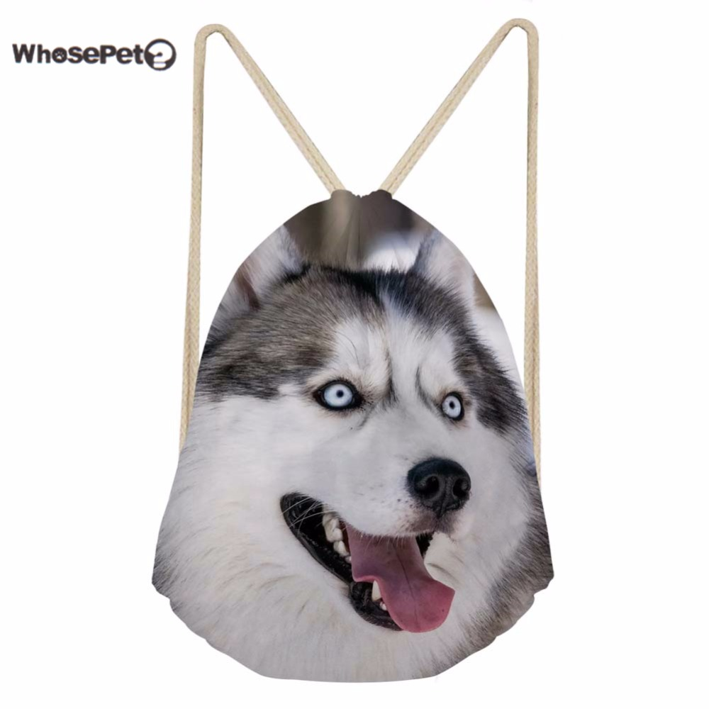 WhosePet Children Draw String Backpck Kids School Bag Casual String Bags Cute Dog Pattern Boys Girls Soft Daypack Beach Shoe Bag