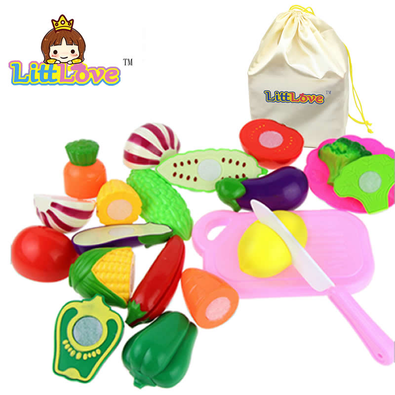 LittLove 13PCS /Set Plastic Kitchen Pretend Play Food Fruit Vegetable Cutting Toy For kid Educational Toy Play House Toys