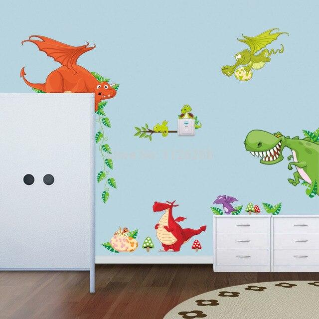 Childrenu0027s Cartoon Dinosaur Wall Stickers Wall Art Decal Sticker For Kids  Room Decor