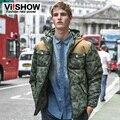 VIISHOW 2016 Marca de Moda Para Baixo HOMENS Parkas Capuz Thicking Quente À Prova de Vento Homens Jaqueta de Inverno Casuais Algodão-Acolchoado Jacket MC14346