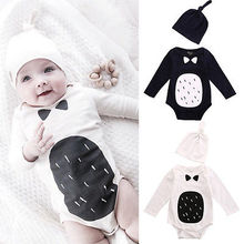 New Arrivel Newborn Baby Boy Girl Clothes Outfits Romper + Hat 2pcs Set Girl Clothing Long Sleeve Jumpsuit