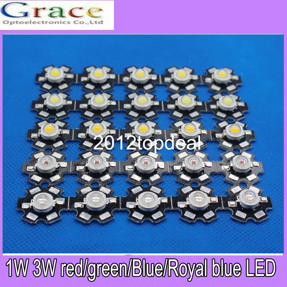 100% Quality 50pcs 1w 3w High Power White Warm White Red Green Blue Royal Blue 660nm Led With 20mm Star Pcb