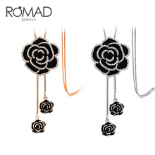 ROMAD Rose Flower Long Necklace Adjustable Crystal Pendant Sweater Chain Black For Women Jewelry R4
