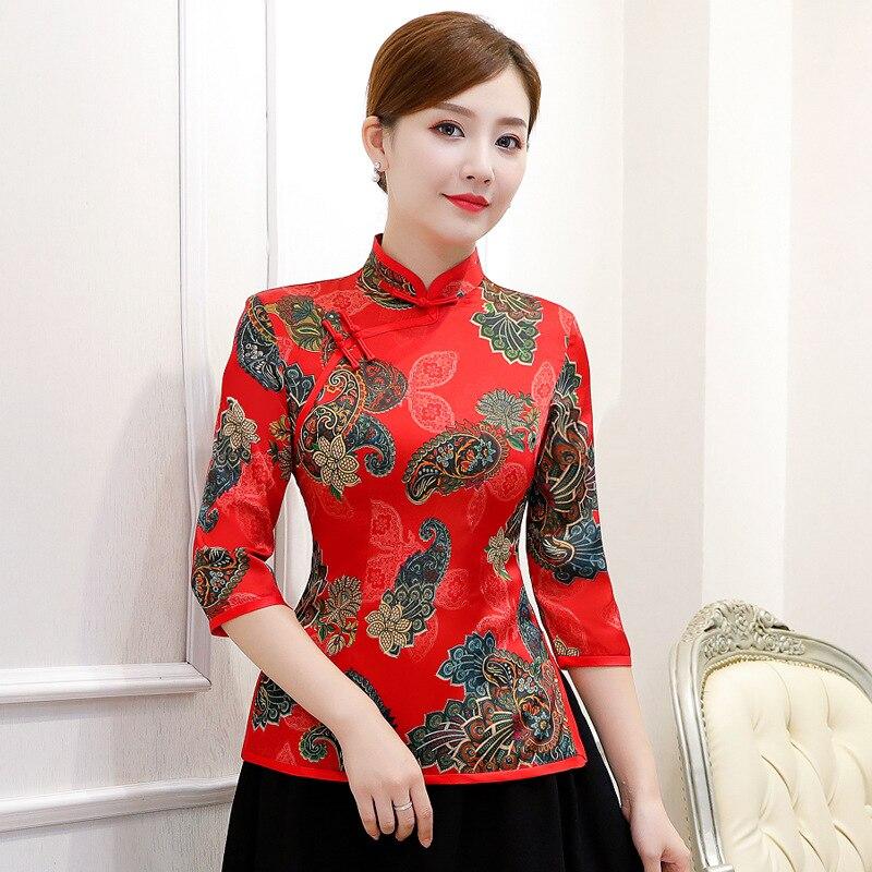 2019 été chemise Vintage chinois femmes hauts col Mandarin Blouse dame vêtements cheongsam courtes fleurs robe top taille S-3XL