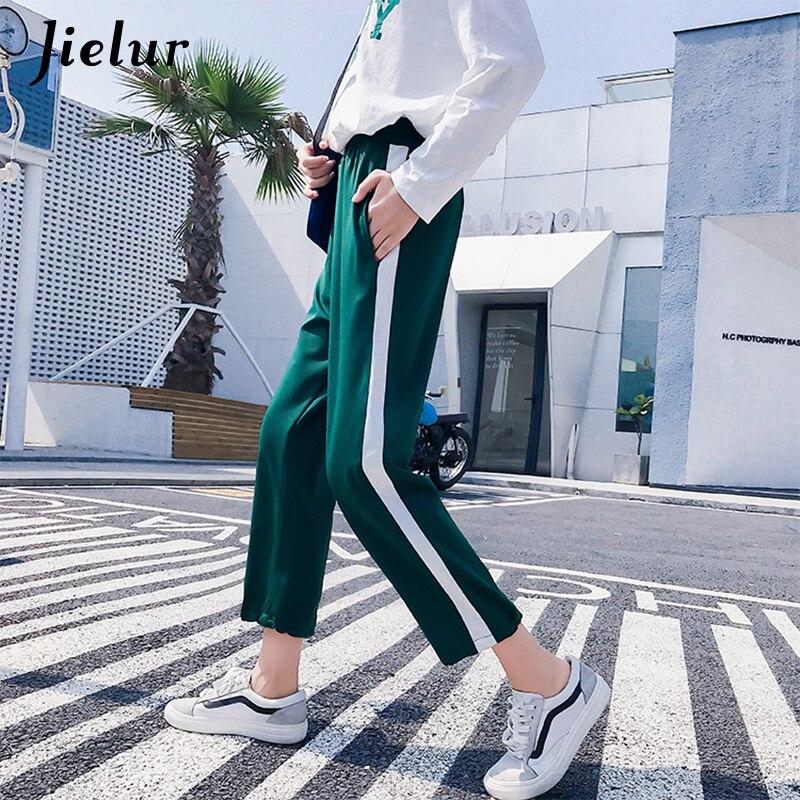 Jielur Spring Autumn Women   Pants   Breathable Korean Ladies Trousers Simple Black Green Harem   Pants   Spell Color Female   Capris   2XL