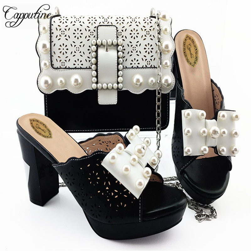 Capputine Italian Style PU With Pearl Party Shoes And Bag Set Fashion Ladies High Heels Shoes And Bag Set For Party DressCapputine Italian Style PU With Pearl Party Shoes And Bag Set Fashion Ladies High Heels Shoes And Bag Set For Party Dress