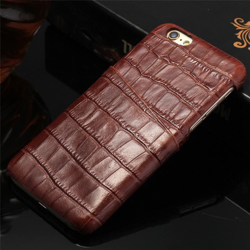 Hot Selling CYBORIS for iphone 7 Case Genuine Leather Case for iphone7plus Real Cow Leather Crocodile Pattern Back Cover